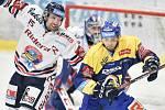 Utkání 32. kola hokejové extraligy: HC Vítkovice Ridera - PSG Berani Zlín, 4. ledna 2019 v Ostravě. Na snímku (zleva) Blaž Gregorcs a Fryšara Štěpán.