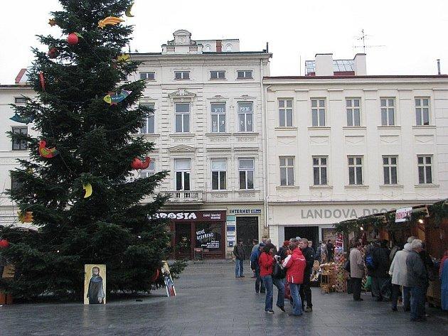Vánoční strom na náměstí v Místku.