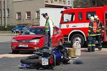 Nehoda motorkáře v Opavě