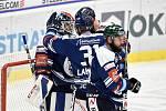 Utkání 15. kola hokejové extraligy: HC Vítkovice Ridera - Mountfield Hradec Králové, 9. listopadu 2020 v Ostravě. brankář Daniel Dolejš z Vítkovic a Dominik Lakatoš z Vítkovic.