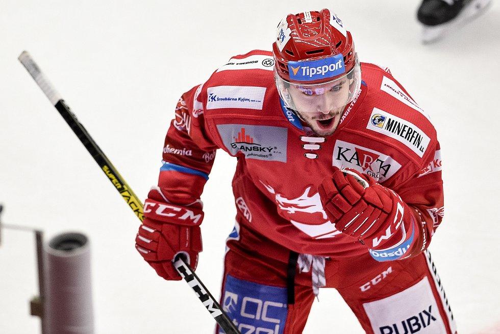 Utkání 3. kola hokejové extraligy: HC Oceláři Třinec - HC Vítkovice Ridera, 15. prosince 2020 v Třinci. Radující se Patrik Hrehorčák z Třince.