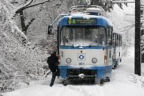Na trať tramvajové linky číslo 5 spadl v neděli kolem poledne v Dolní Lhotě strom a zastavil tak provoz.