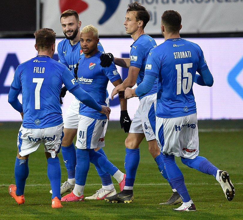 Utkání 10. kola první fotbalové ligy: SFC Opava - FC Baník Ostrava, 5. prosince 2020 v Opavě. (střed) Dyjan Carlos De Azevedo z Ostravy se raduje z gólu.
