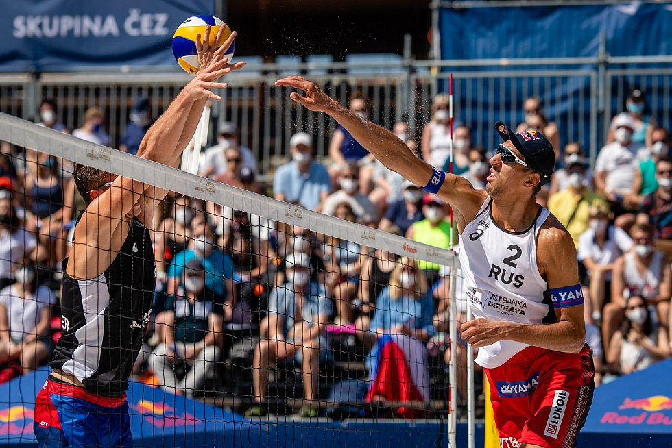 J&T Banka Ostrava Beach Open - semifinále muži, 6. června 2021 v Ostravě. Oleg Stoyanovskiy (RUS).