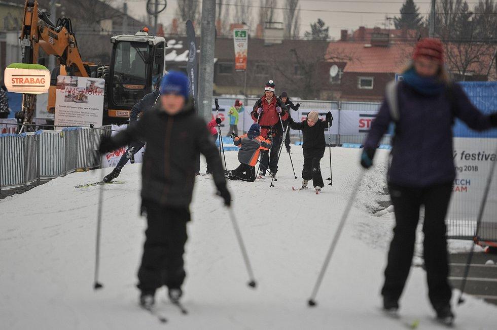 Olympijský festival u Ostravar Arény 23. února 2018 v Ostravě. Biatlon, běžky.