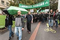 Demonstrace zaměstnanců OKD (horníků) v Ostravě.