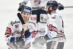 Utkání 34. kola hokejové extraligy: HC Vítkovice Ridera - HC Oceláři Třinec, 12. ledna 2019 v Ostravě. Na snímku (zleva) Jakub Lev.