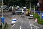 Dopravní situace na Místecké ulici v Ostravě 19. 8. 2019.