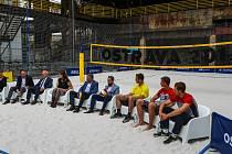 Tisková konference FIVB Světové série v plážovém volejbale J&T Banka Ostrava Beach Open, 27.května 2019 v Ostravě.