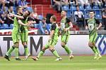 Nadstavba první fotbalové ligy, kvalifikační utkání o Evropskou ligu: FC Baník Ostrava - FK Mladá Boleslav, 1. června 2019 v Ostravě. Na snímku (vlevo) Nikolay Komlichenko oslavuje gol.