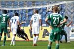 Utkání 5. kola první fotbalové ligy: FC Baník Ostrava - Bohemians 1905 , 10. srpna 2019 v Ostravě. Na snímku penalta hráče Kamil Vacek.