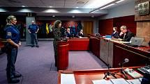Simulovaný soud, ilustrační foto. Okresní soud v Ostravě si společně s Krajským soudem v Ostravě pro návštěvníky připravily simulované hlavní líčení (trestní řízení) s komentářem a s následnou diskuzí v rámci projektu Noc práva, 6. března 2020 v Ostravě.