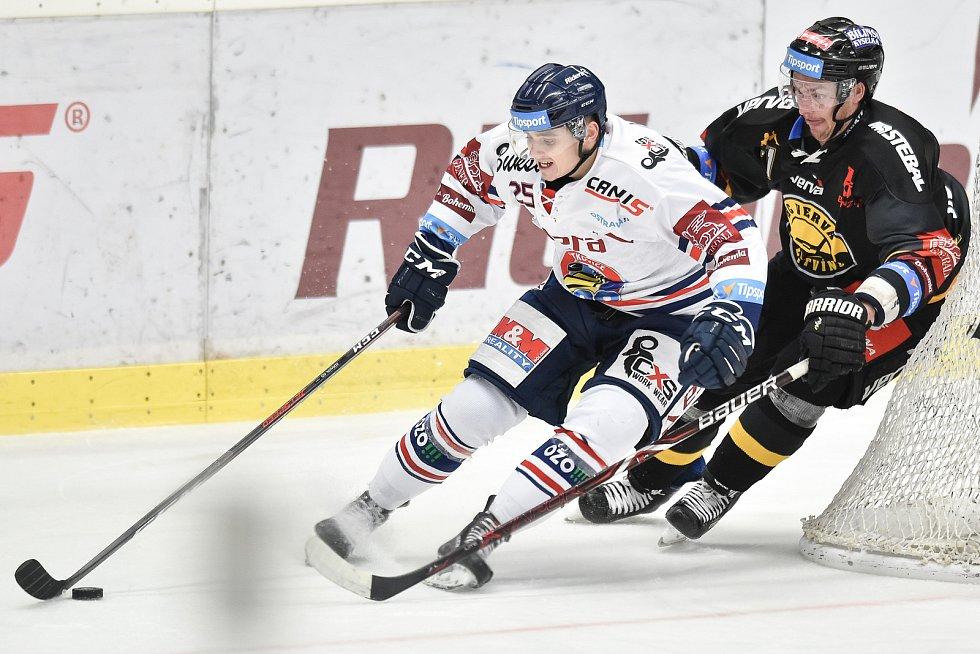 26. kolo hokejové extraligy: HC Vítkovice Ridera - HC litvínov, 9. prosince 2018 v Ostravě. Na snímku (zleva) Patrik Zdráhal a Mikúš Juraj.