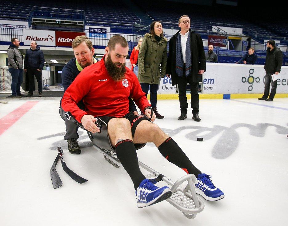 Tisková konference k Mistrovství světa v para hokeji 18. ledna 2019 v Ostravě. Na snímku  Jan Výtisk z Vítkovic.