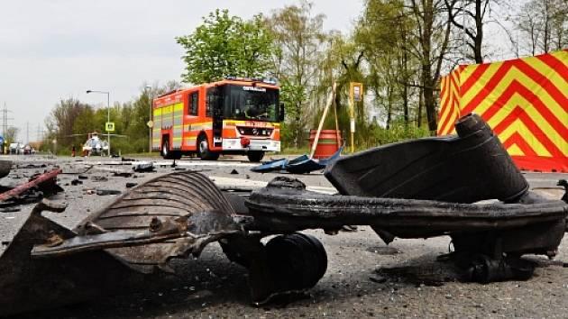 Zásah hasičů u tragické nehody.