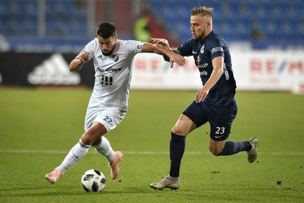 Utkání 16. kola první fotbalové ligy: FC Baník Ostrava - FC Slovácko, 24. listopadu 2018 v Ostravě. (vlevo) Milan Baroš a Petr Reinberk.