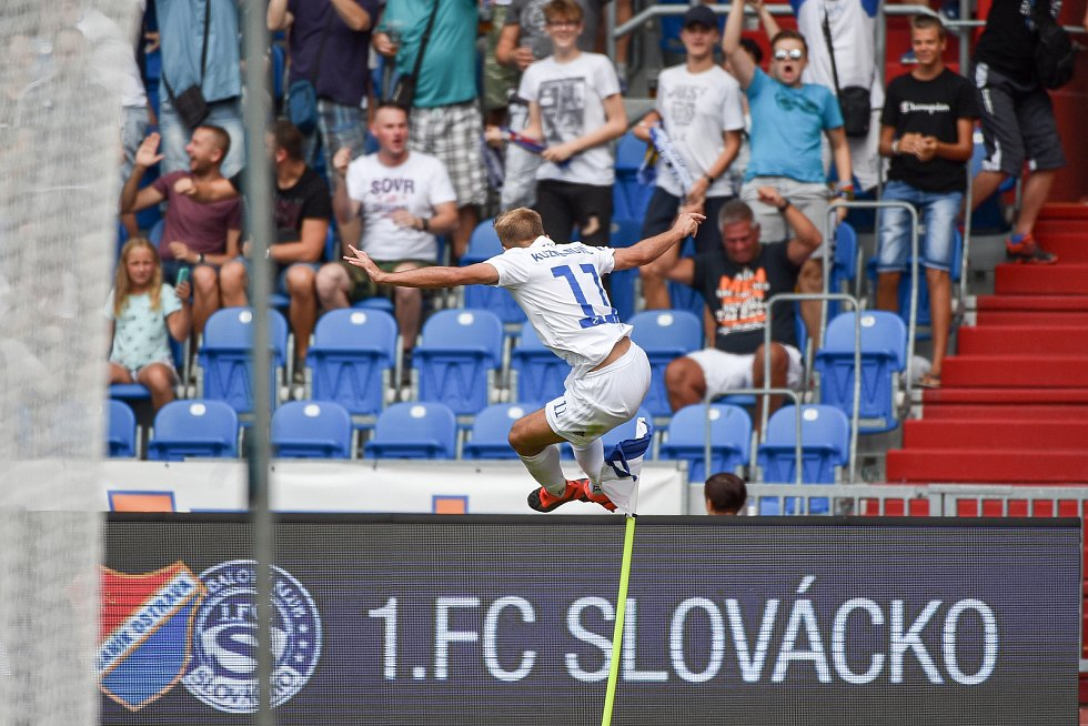 Utkání 5. kola první fotbalové ligy: FC Baník Ostrava - Bohemians 1905 , 10. srpna 2019 v Ostravě. Na snímku radsot Nemanja Kuzmanovič.
