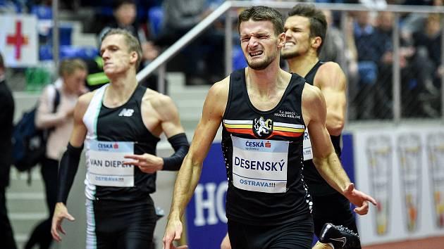 Mezinárodní halový atletický mítink Czech Indoor Gala 2020, 5. února 2020 v Ostravě. Běh 400m muži, Michal Desenský z Česka.