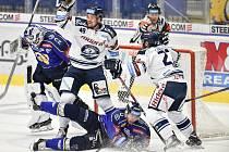 Utkání 15. kola hokejové extraligy: HC Vítkovice Ridera - PSG Berani Zlín, 29. října 2019 v Ostravě. Na snímku (střed, radost) Nicolas Werbik.