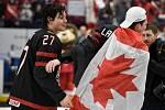 Mistrovství světa hokejistů do 20 let, finále: Rusko - Kanada, 5. ledna 2020 v Ostravě. Na snímku radost hráčů Barrett Hayton a Alexis Lafreniere.