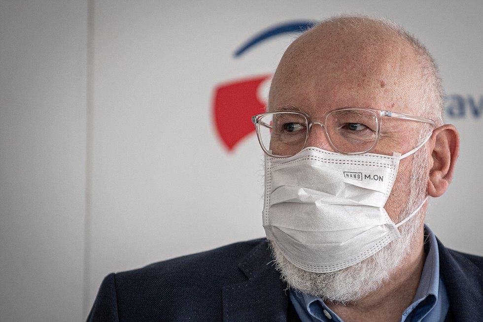 Místopředseda Evropské komise Frans Timmermans vystoupil na briefingu, 17. července 2021 v Ostravě.