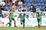 Utkání 5. kola první fotbalové ligy: FC Baník Ostrava - Bohemians 1905 , 10. srpna 2019 v Ostravě. Na snímku (2zleva) radost Petr Hronek.