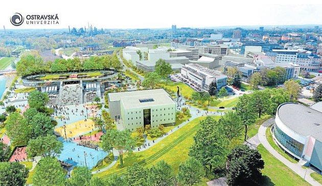 Dominantami multifunkčního areálu bude i architektonicky zajímavé zázemí pro sport, zdraví a technologie (na snímku vlevo v pozadí) a Klastr umění a designu Fakulty umění (na snímku v popředí vpravo).