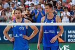 Finále muži: ČR - Norsko. FIVB Světové série v plážovém volejbalu J&T Banka Ostrava Beach Open, 2. června 2019 v Ostravě. Na snímku (zleva) Ondrej Perusic (CZE), David Schweiner (CZE).