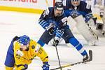 Mistrovství světa hokejistů do 20 let, zápas o 3. místo: Švédsko - Finsko, 5. ledna 2020 v Ostravě. Na snímku (vlevo) Albin Eriksson (SWE).