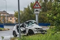 Nehoda na Místecké ulici v nájezdu na ulici 28.října (směr centrum), 9. září 2019 v Ostravě.