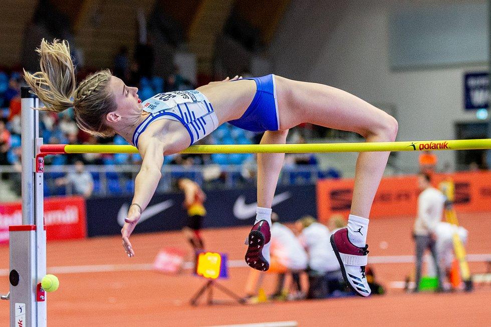Halové mistrovství ČR mužů a žen v atletice, 23. února 2020 v Ostravě. Skok vysoký Bára Sajdoková (TJ TŽ Třinec).