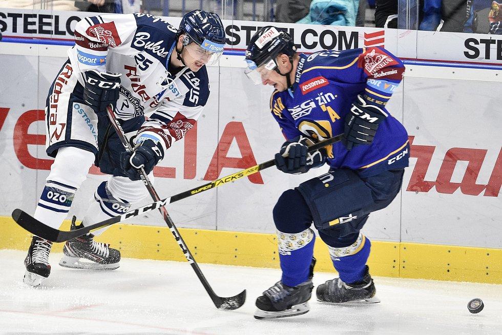 Utkání 15. kola hokejové extraligy: HC Vítkovice Ridera - PSG Berani Zlín, 29. října 2019 v Ostravě. Na snímku (zleva) Patrik Zdráhal a David Nosek.
