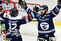 Utkání 50. kola hokejové extraligy: HC Vítkovice Ridera - HC Dynamo Pardubice, 2. března 2021 v Ostravě. (zleva) hráči se radují s gólu, Petr Fridrich z Vítkovic a Rastislav Dej z Vítkovic.