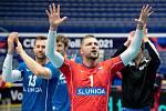Utkání mistrovství Evropy volejbalistů - osmifinále: ČR - Francie, 13. září 2021 v Ostravě. Radost hráče Milan Moník z ČR.