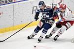 Utkání 16. kola hokejové extraligy: HC Vítkovice Ridera - HC Oceláři Třinec, 15. února 2021 v Ostravě. (zleva) Dominik Lakatoš z Vítkovic a Martin Gernát z Třince.