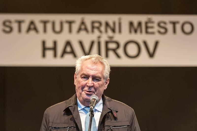 Prezident Miloš Zeman v Havířově, listopad 2014.