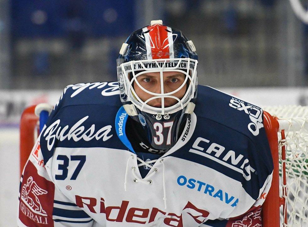 HC Vítkovice Ridera – HC Olomouc 1:2 v prodloužení, přípravný zápas v Ostravě, 10. září 2020. Domácí gólman Daniel Dolejš.