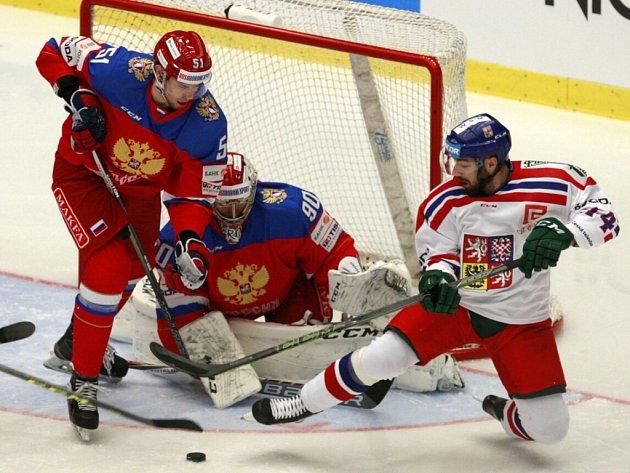 První ze dvou domácích zápasů s Ruskem sehrála česká hokejová reprezentace v Třinci. Duel rozhodly nájezdy: Česko - Rusko 3:2