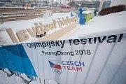 Příprava areálu Olympijského festivalu Ostrava 2018, 8 února 2018.