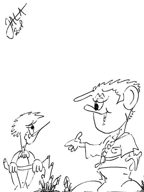 Tyto kresby nechal po sobě rodokmenový podvodník, který tvrdí, že pracuje pro humoristické časopisy Trnky Brnky nebo Vyškeřák.