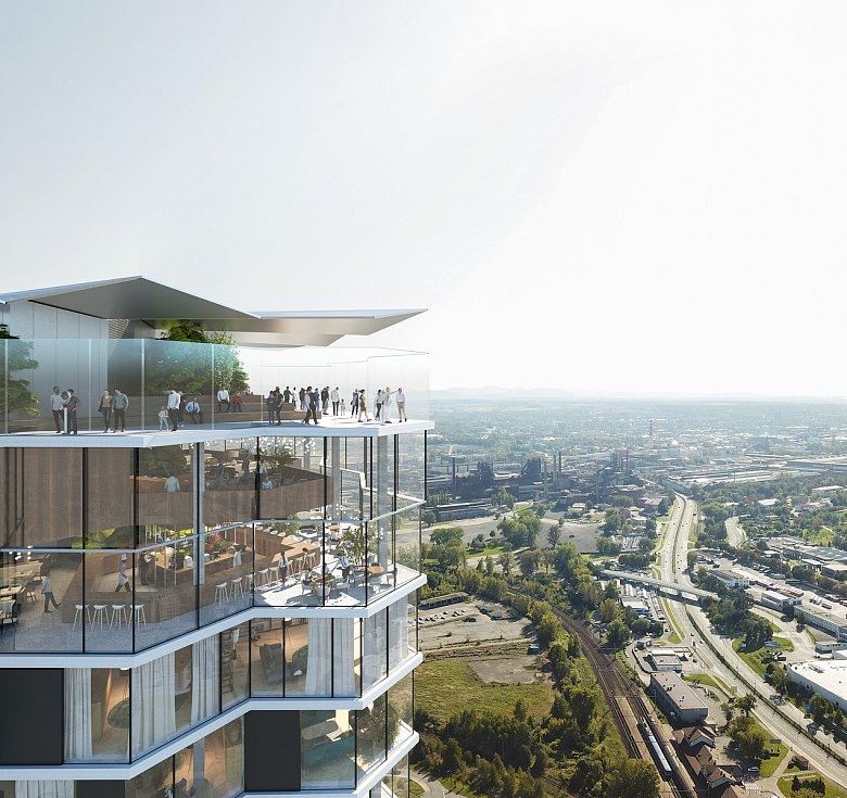 Nová podoba mrakodrapu Ostrava Tower, kterou investor, společnost RT Torax, bude 15. září 2021 prezentovat ostravským zastupitelům s žádoucí o souhlas se stavbou.