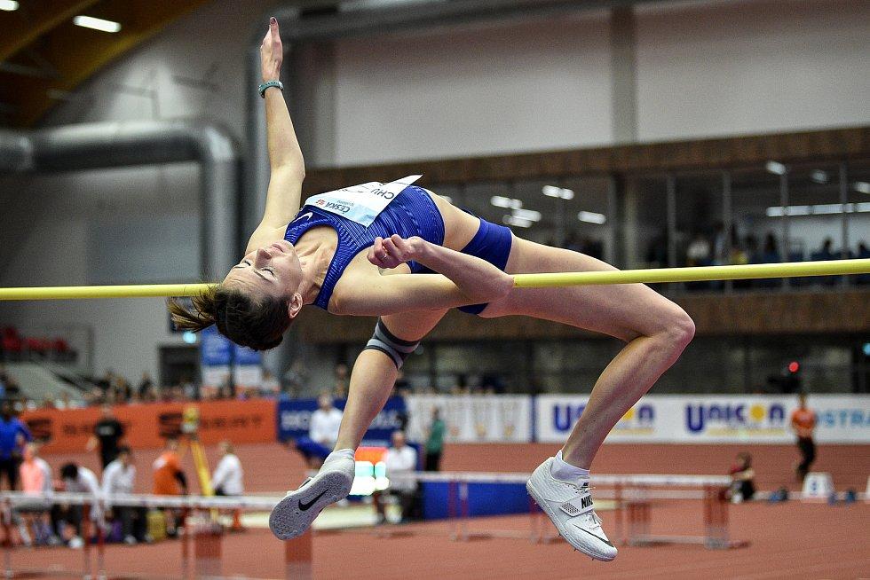 Mezinárodní halový atletický mítink Czech Indoor Gala 2020, 5. února 2020 v Ostravě. Skok vysoký, ženy Yuliya Chumachenko z Ukrajiny.