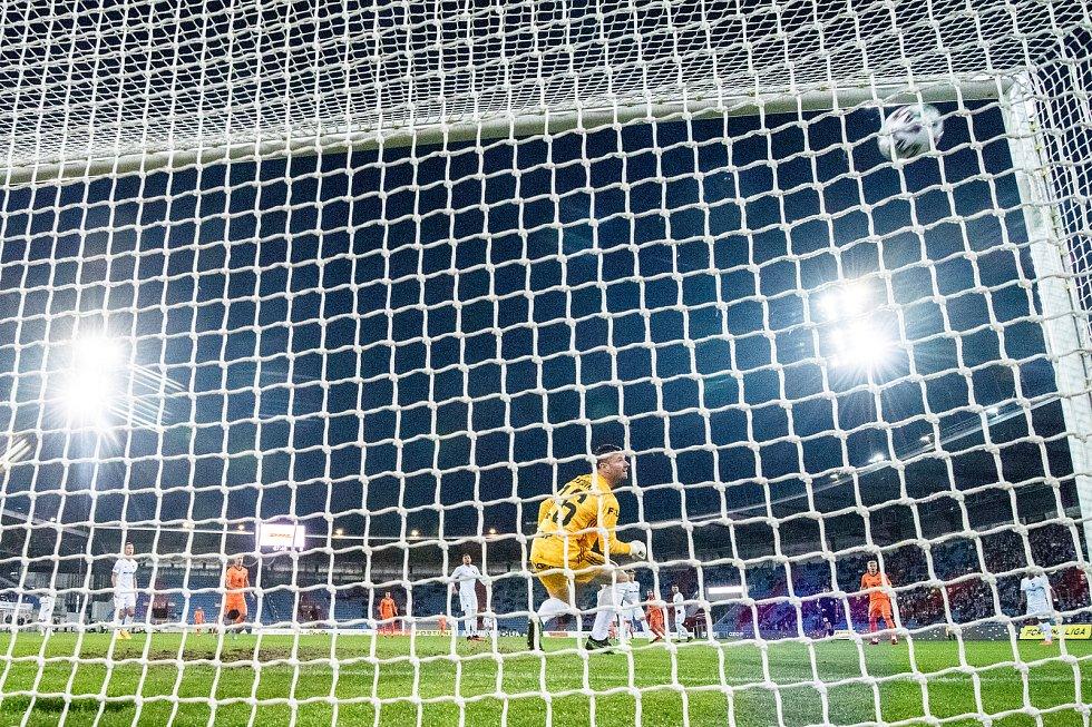 Utkání 24. kola první fotbalové ligy: Baník Ostrava - FK Mladá Boleslav, 9. března 2020 v Ostravě. Brankář Baníku Jan Laštůvka.
