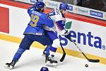 Mistrovství světa hokejistů do 20 let, skupina A: Slovensko - Kazachstán, 27. prosince 2019 v Třinci. Na snímku (zleva) Maxim Musorov a Maxim Cajkovic.