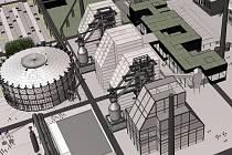 VIZUALIZACE. Architektonický návrh nové vědecké knihovny v Dolní oblasti Vítkovice.