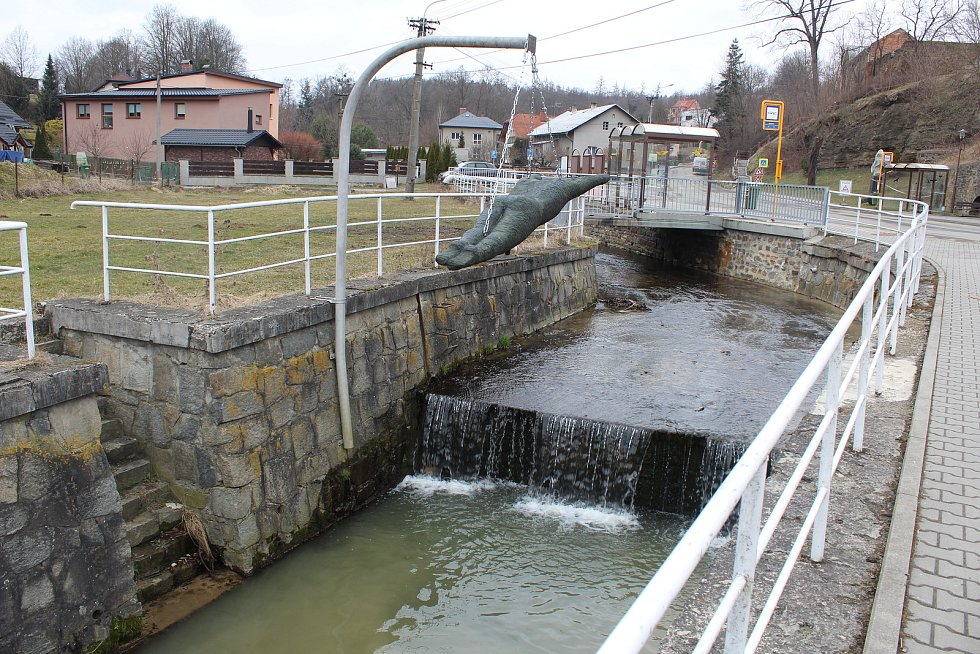 Plesenský potok, jediné místo v Ostravě, kde rybáři vysazují pstruhy.