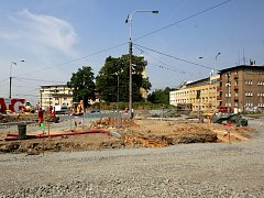 Stavba kruhového objezdu ve Slezské Ostravě