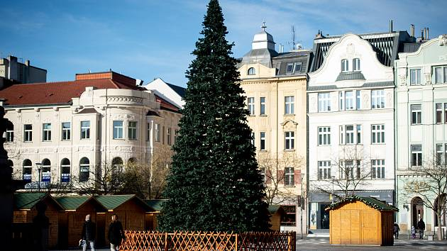 Vánoční strom na Masarykově náměstí v Ostravě.