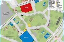 Olympijský park v Ostravě bude mít tři části - Masarykovo náměstí, Černou louku a Loděnici. Hlavní stage bude na Černé louce.