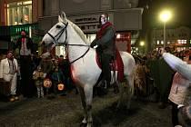 Svatý Martin na bílém koni na Masarykově náměstí v Ostravě.